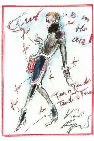 Karl Lagerfeld sketch Fur is Fendi Fendi is Fur