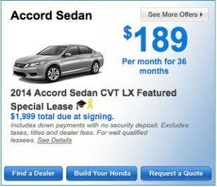2014 Honda Accord Sedan CVT LX Special Lease