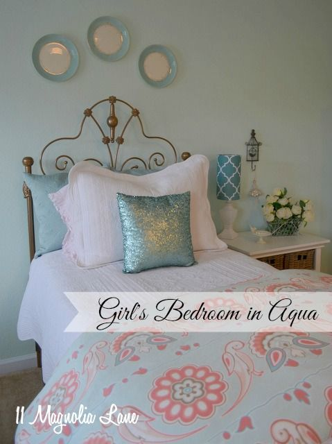 Girls bedroom in aqua, white, brown, and salmon pink--this soothing palette works for girls of all ages!