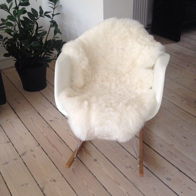 Eames Style RAR Molded White Plastic Rocking Chair with Steel Eiffel ...