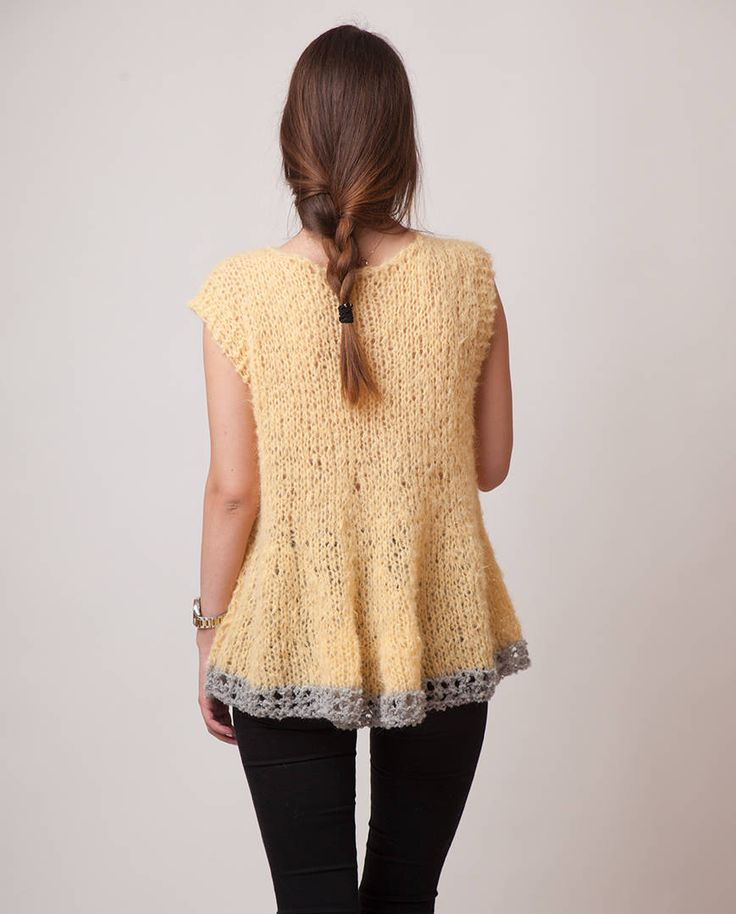 Yellow knit sweater, sleeveless alpaca light vest, swing jumper, vanilla soft wool handknit clothing, mohair like cozy sweater, gift for her by beWoolen on Etsy