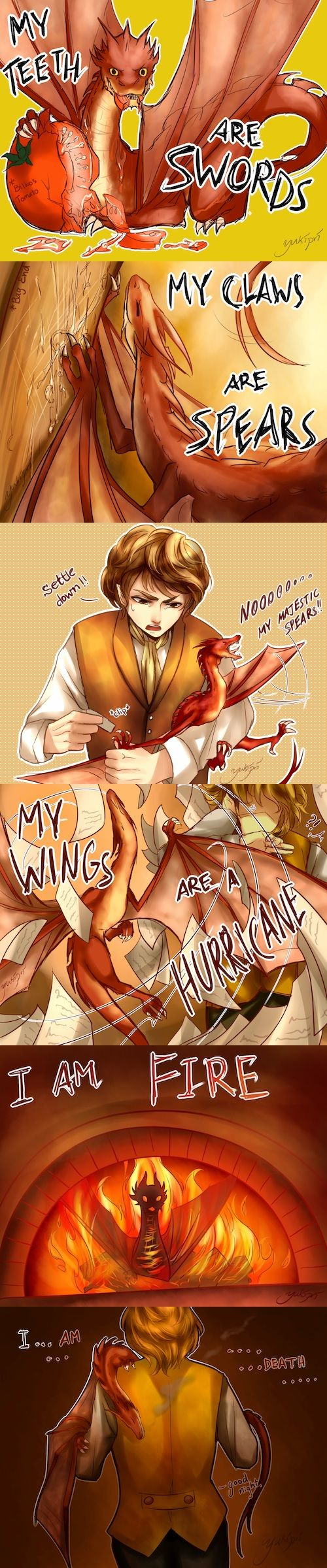 yukipri: Baby!Smaug Baby dragons are essentially winged, fire-breathing cats.