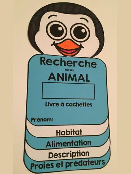 RECHERCHE SUR UN ANIMAL: Livre à cachettes: Ce petit livre permettra aux élèves de faire une recherche sur un animal de leur choix. Il y a quinze options au total. Chaque page permettra aux élèves de noter l'information retrouvée lors de la recherche.