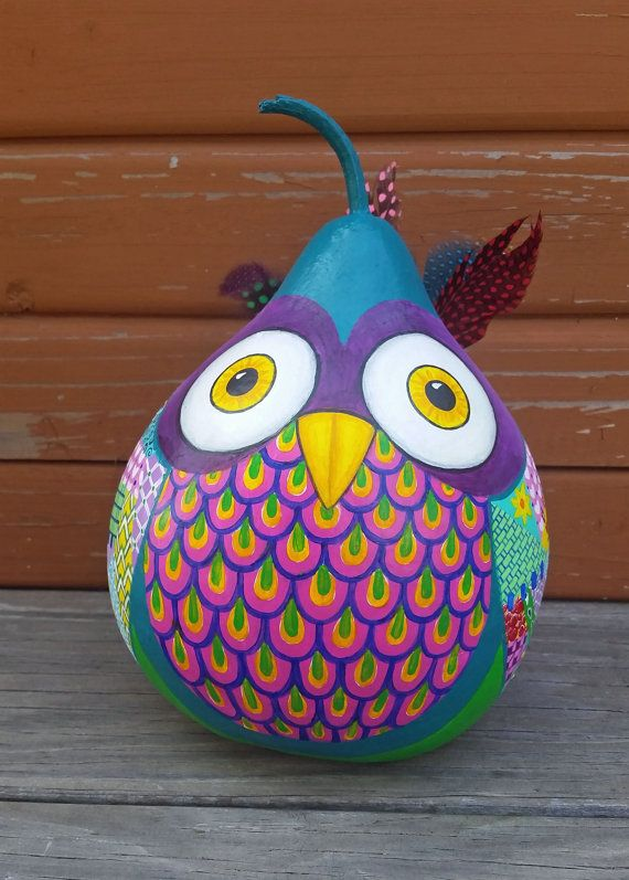 Hey, I found this really awesome Etsy listing at https://www.etsy.com/listing/236685222/colorful-gourd-owl-with-feathers