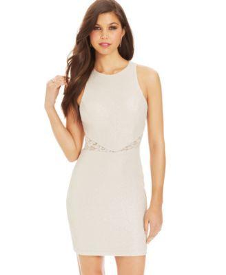 Teeze Me Juniors' Glittered Lace-Panel Dress | macys.com