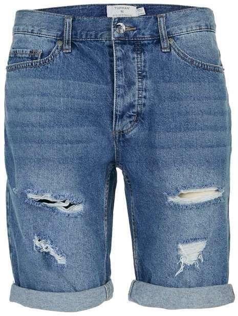 Mid Wash Blue Ripped Slim Denim Shorts