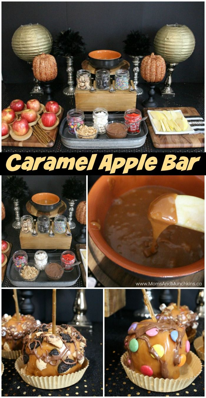 Halloween food table decorations - Caramel Apple Buffet A Fun Halloween Or Fall Party Idea For Both Kids And Adults