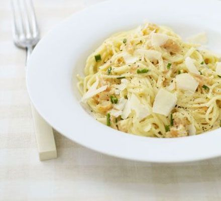 If you've got leftover smoked salmon trimmings, use them up in this creamy, indulgent pasta dish