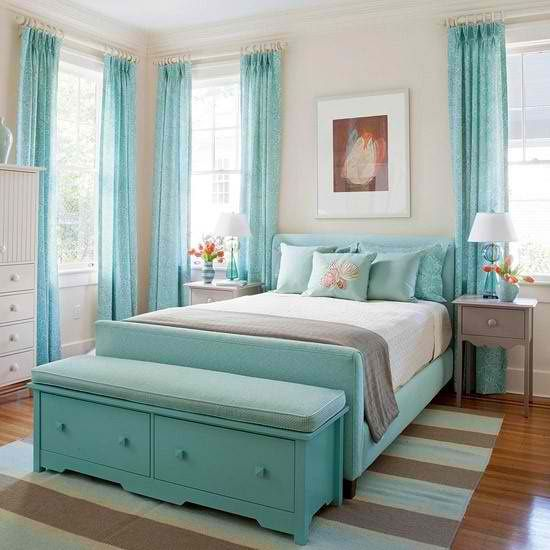 I like the idea of a seat thing at the end of the bed. But pinterest lives in a world of giant bedrooms. Storage possibilityies