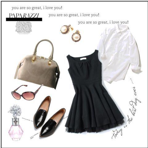 ワンピース ブラック 白シャツのコーディネート詳細 1870829 iqon ファッションアイデア リトルブラックドレス ファッション