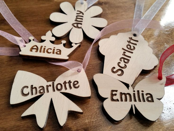 Pack of 10 personalised wooden tags, gift, favours kids girls party flower butterfly crown cupcake laser cut shapes birthday by Stylishmoments on Etsy