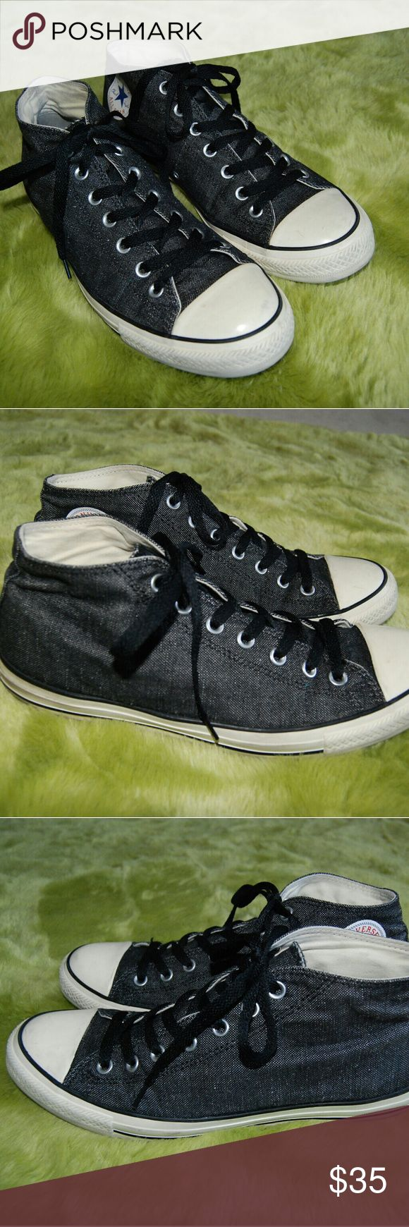 Converse All Star Black Denim high top Sneakers 10 Mens high top Sneakers Converse chuck taylor Black Denim Gently worn, great condition Shows normal wear Some scuffs and marks Men's size 10 Woman's size 12 Converse Shoes Sneakers