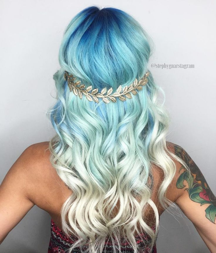 Sea Goddess Blue to Blonde Balayage