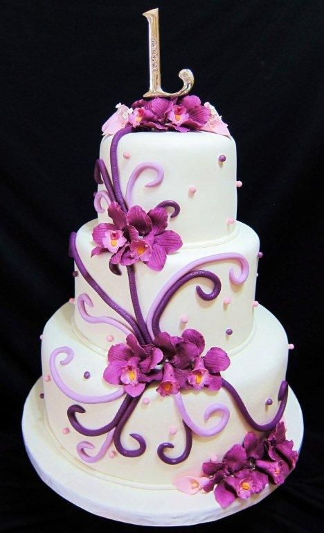 Purple wedding cake with orchids
