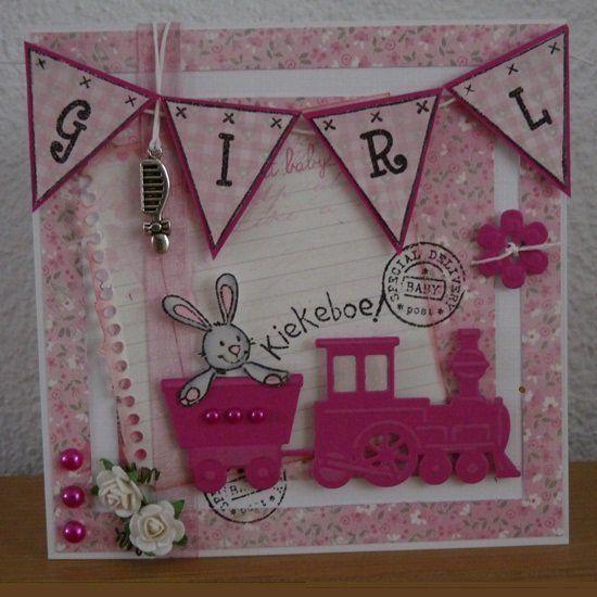 Kaartengalerij - Marianne Design - Babykaart met een roze treintje