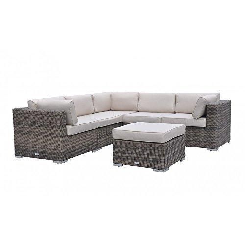 Radeway 6 Piece Patio Furniture Sofa with Protective Covers and Pillows Brown