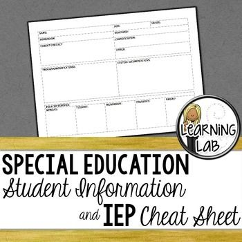 All of the important IEP information on one page! I print this form out and write on in with pencil so that it is easy to change. We all know how many times a related services schedule or an IEP can change during a year! I have a giant binder that I keep information on all of my students.