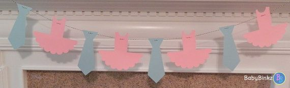 Party Banner Blue Ties and Pink Tutu Garland by BabyBinkz, $18.50