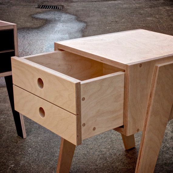 Bedside table with soft closing drawer made by for Plywood bedside table