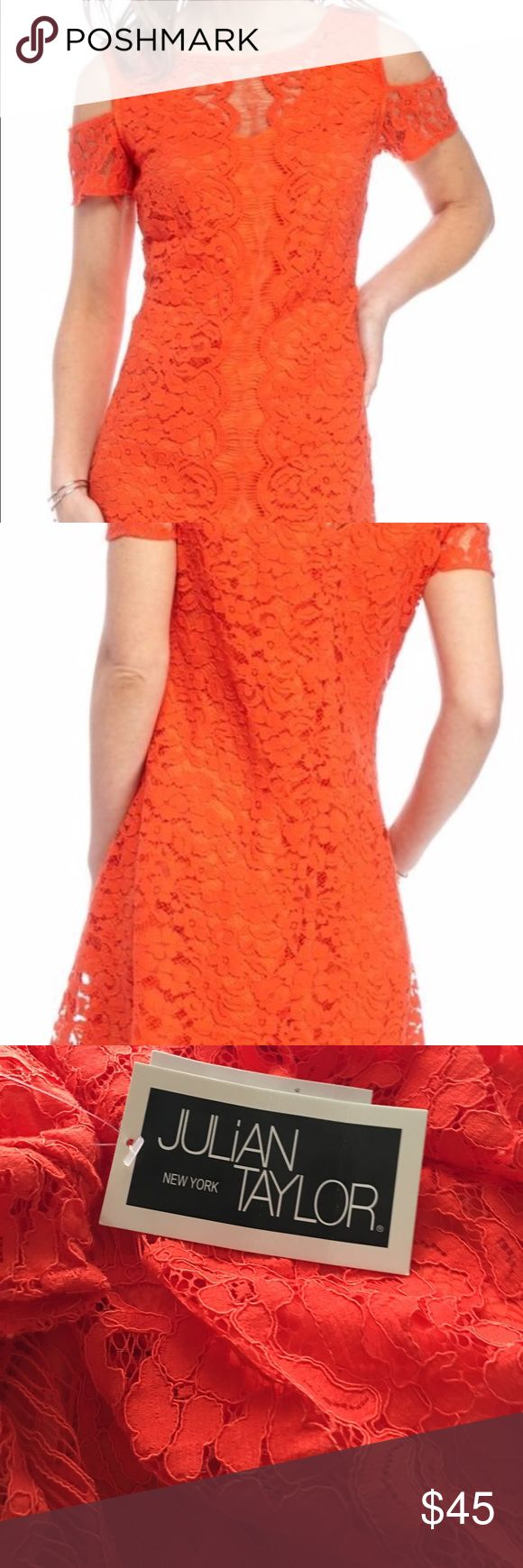 "Orange lace dress cold shoulders Cold Shoulder, Crew neckline A-line, shift dress. Fully lined Back closure 42"" length from shoulder to hem ( Size 14) Fit more like size 12 bust 40 1/2"". 33 1/2 waist. 43 1/2 hip Occasion: Cocktail dress, Party dress, wedding guest Cold shoulder Lace Dress. Adorned with delicate feminine lace in a slightly A-line silhouette that gives a super flattering fit, to any shape and size. These lace Party dress is the perfect addition to your summer wadrobe. Fully…"