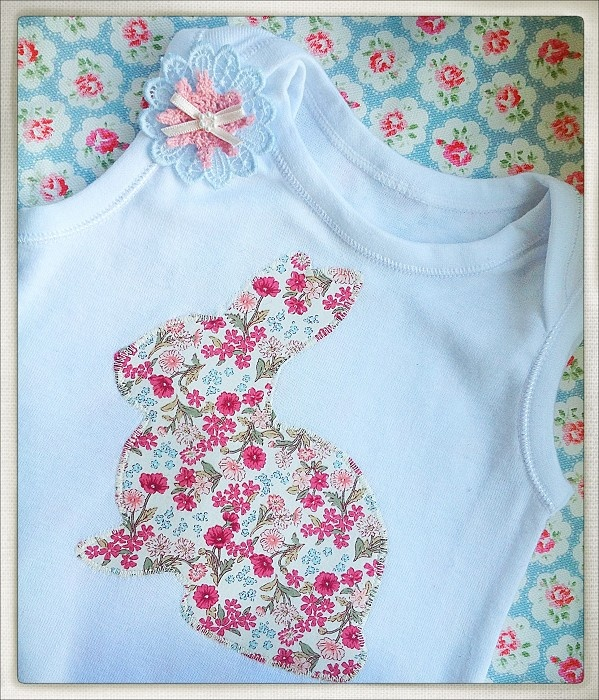 Bunny singlet onesie ~ mini floral - by ShelliMorseDesign on madeit