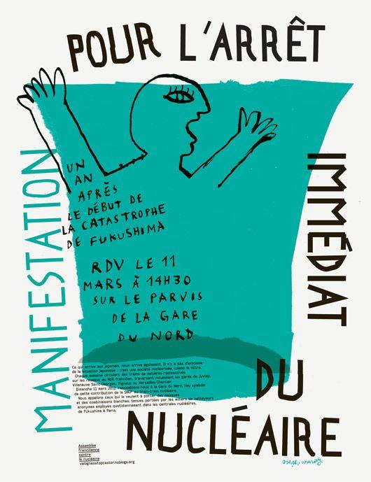 Formes Vives, affiche pour la manifestation anti-nucléaire du 11 mars 2012 à Paris, Assemblée francilienne contre le nucléaire, 50x65cm, off...