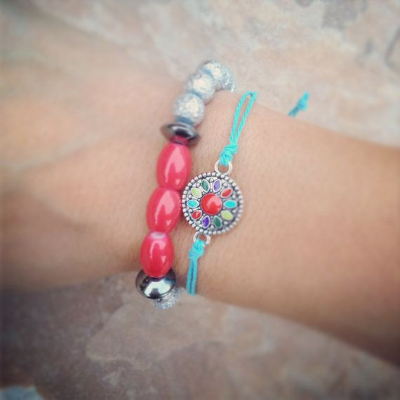 Bohemian turquoise and coral bracelet set by AroundMyWrist on Etsy, 16.00