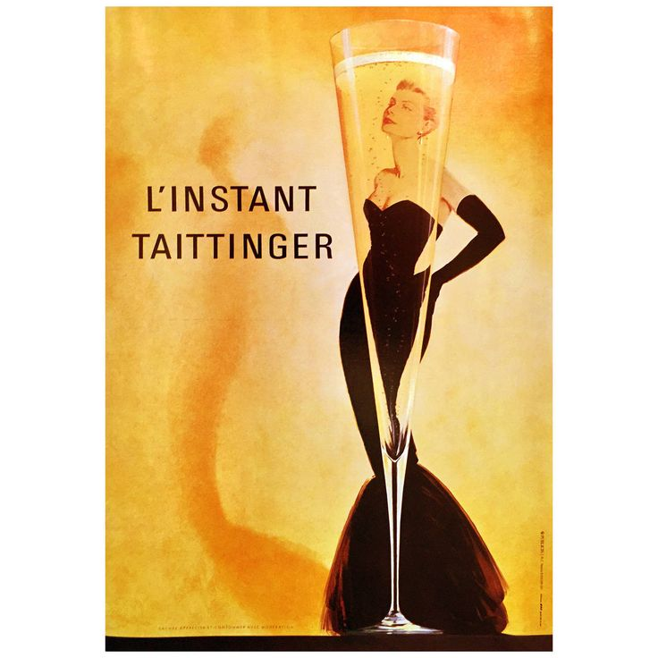 Modern French Advertising Poster for Taittinger Champagne with Catherine Deneuve | From a unique collection of antique and modern posters at https://www.1stdibs.com/furniture/wall-decorations/posters/