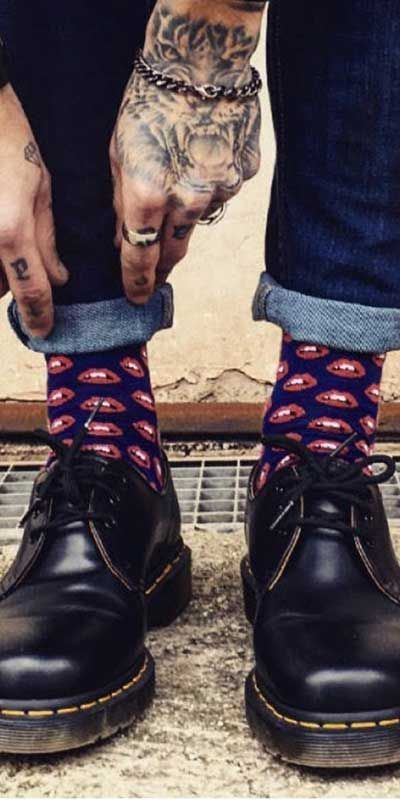 Dr. Martens matched with happy socks - quality mens shoes, online shopping shoes for mens, mens dress sneaker shoes