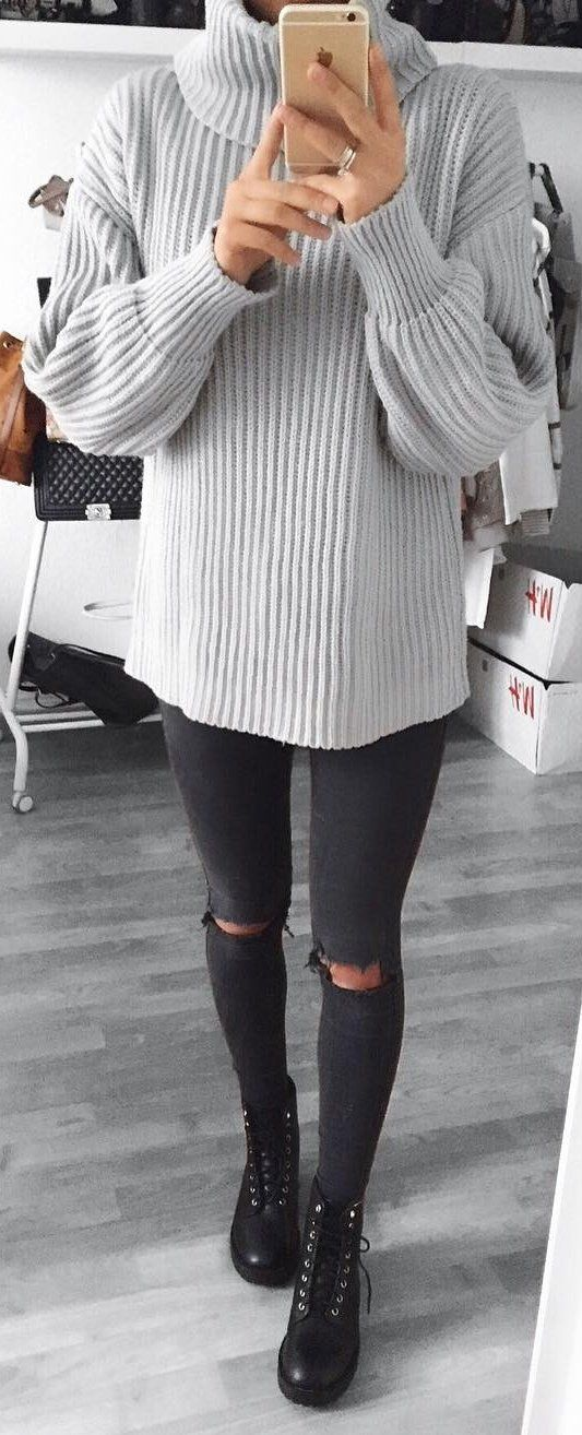 #winter #fashion /  Grey Turtleneck + Destroyed Skinny Jeans
