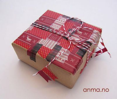 Decorate a gift with a Washi tape quilt ; ) from anma.no