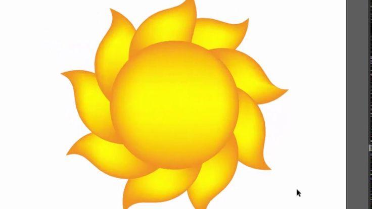 Sun shape - Adobe Illustrator tutorial. How to create yellow sun with ni...