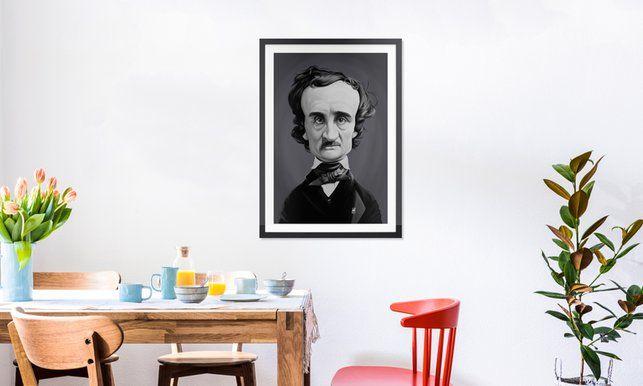 Edgar Allan Poe - Rob Snow | Creative - Poster in Wooden Frame art | decor | wall art | inspiration | caricature | home decor | idea | humor | gifts