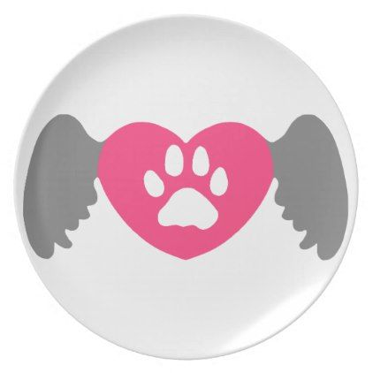 Paw Heart Wing Grey-Pink Dinner Plate - valentines day gifts love couple diy personalize for her for him girlfriend boyfriend