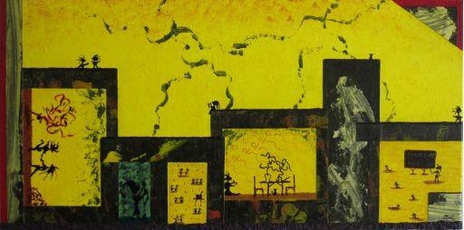 Gemälde Nr. 747 In der Stadt. Tanzen! (2015) | Abstrakte Malerei | Collage | 40x80cm | Acryl und Papier auf Leinwand | ART by MANUEL SÜESS http://art-by-manuel.com/de/nr.-747-in-der-stadt.-tanzen-2015/