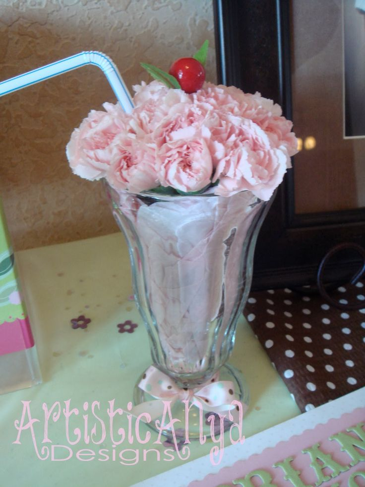 {Artistic Anya Designs} Pickles and Ice Cream Baby Shower-Milkshake flowers