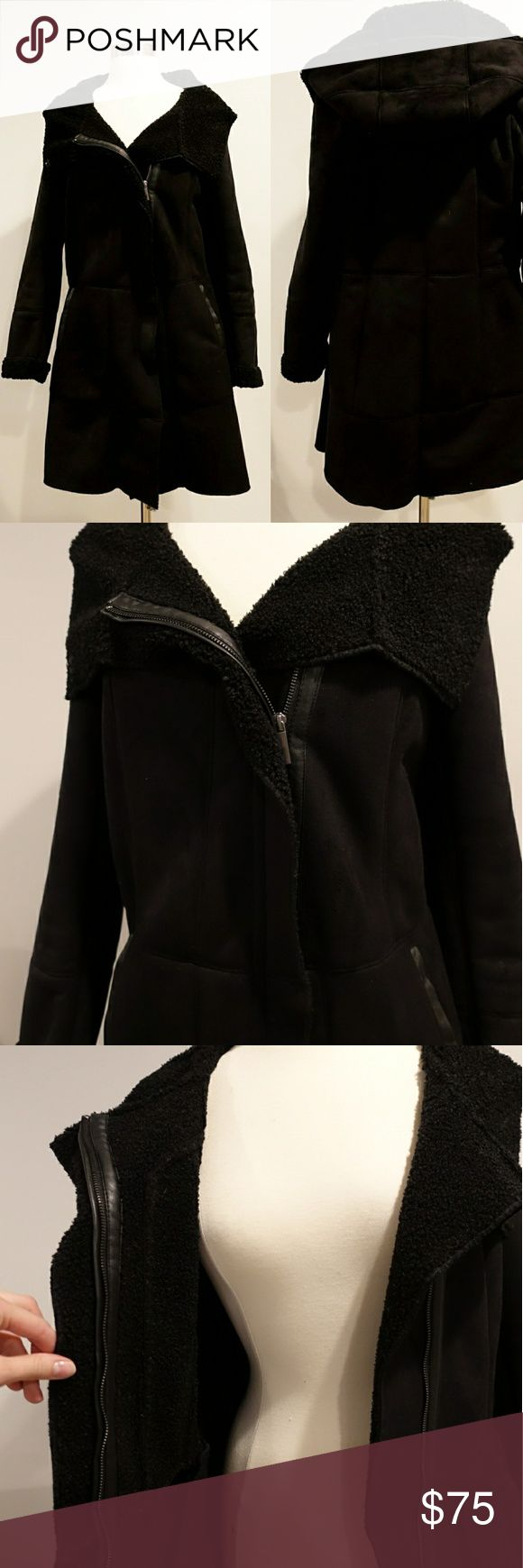 French Connection Suede Shearling Coat Heavy and warm beautiful faux shearling (feels like suede) coat. Zips up and has beautiful details, and hood. Worn once, it's just a little too big. Size small. French Connection Jackets & Coats