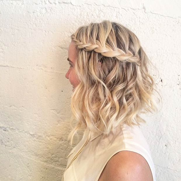 Curly A-Line Lob with a Braid