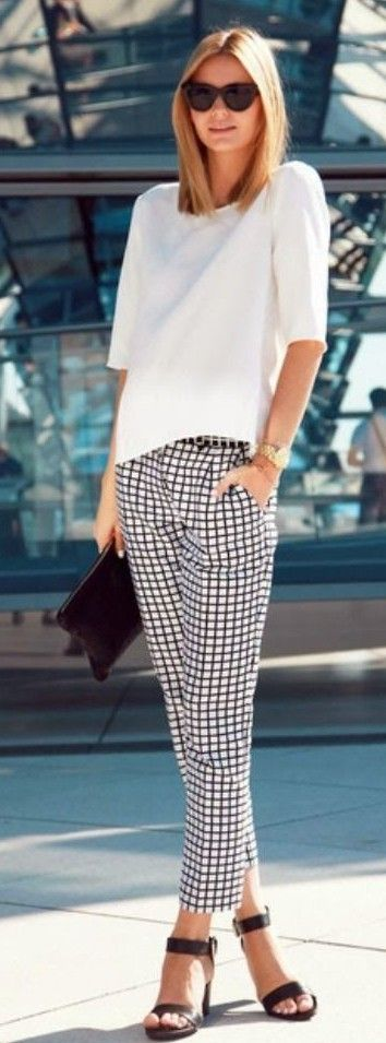 Casual style - white shirt, checked black & white pants, black high heels, sunglasses and clutch. JustBeStylish.com