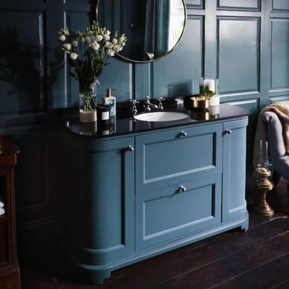 Bayswater Stiffkey Blue 1200mm 2 Drawer Curved Vanity Unit Marble Top Vanity Units Basin Cabinet Stiffkey Blue