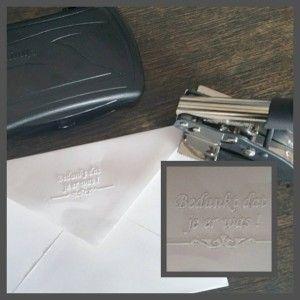 Persoonlijk, elegant en sierlijk zónder inkt! - http://blog.stempels.nl/2016/10/31/persoonlijk-elegant-en-sierlijk-zonder-inkt/ #Blinddruktang, #Diepdrukstempel, #Droogstempel, #Embossingstempel, #Preegstempel, #Preegtang, #Reliëfstempel - #Blinddrukstempels