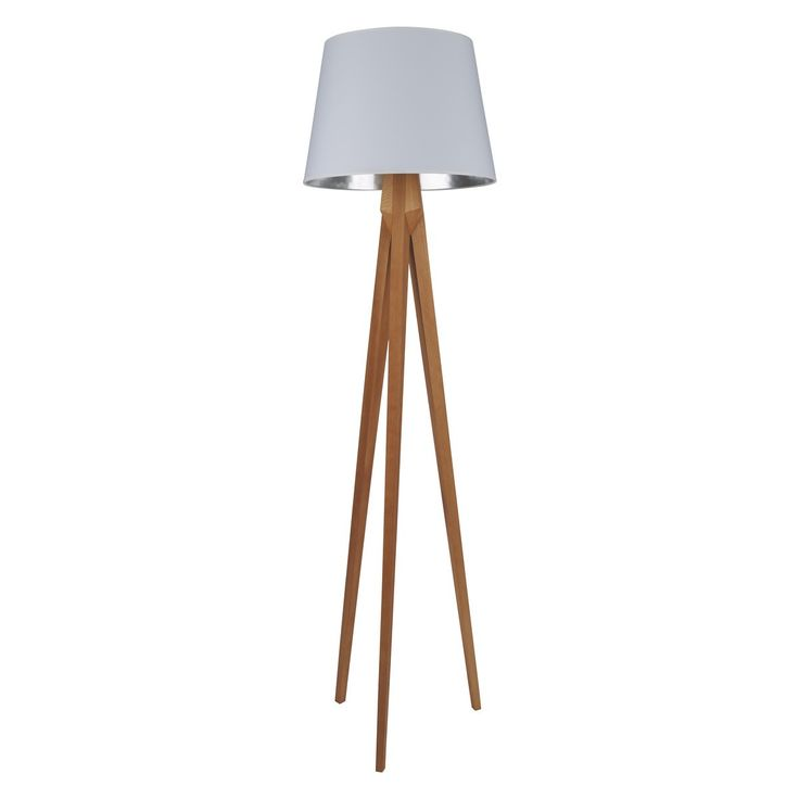 TRIPOD Wooden tripod floor lamp with white and silver shade | Buy now at Habitat UK
