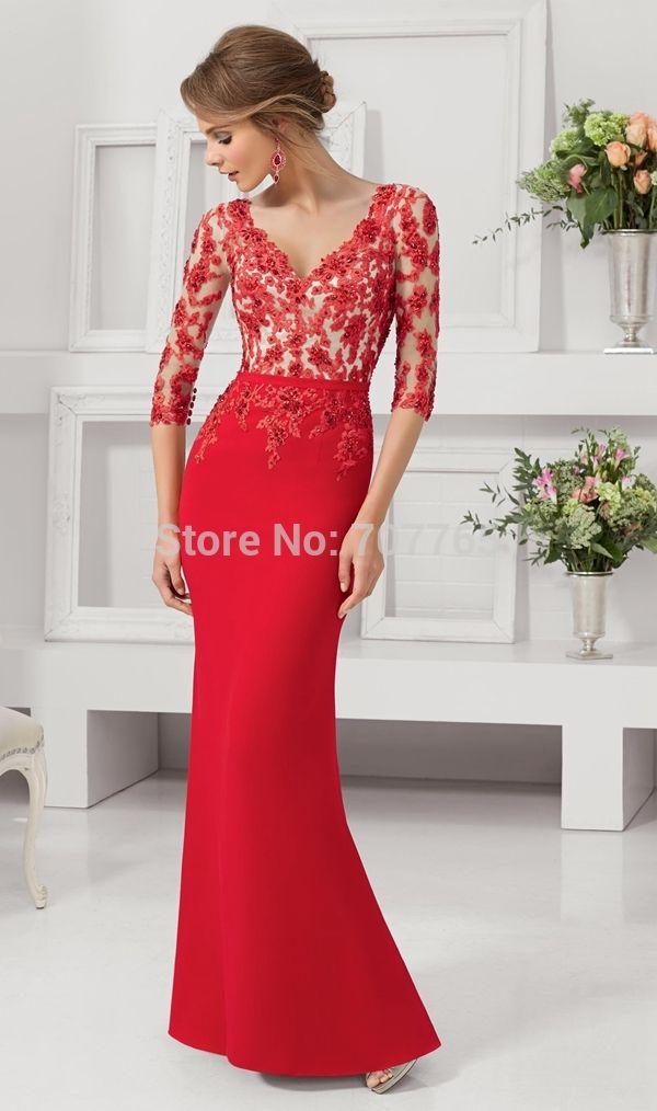 Vestidos Largos Con Mangas, Vestido Rojo Largo, Vestido Rojo De Noche, Encaje  Rojo, Mus Vestidos, Vestidos Para Mama De La Novia, Vestidos De Fiesta Con