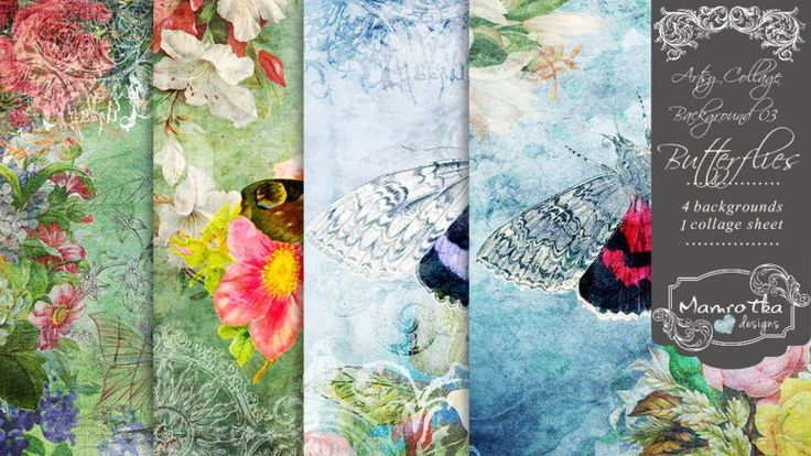 Artsy Collage Background 04 - Butterflies