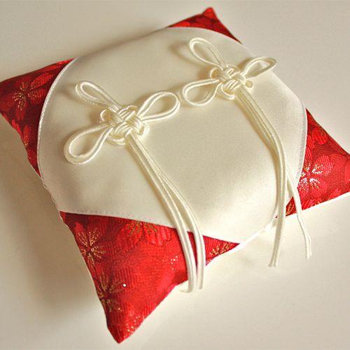 Japanese knot ring pillow! 和風リングピロー 完成品 桜風(さくらかぜ) 赤 - リングピロー、ウェルカムボード、ウェJイトベア、ウェディンググッズのアナザークルー