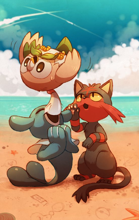 Pokémon Sun and Moon Starters: Rowley, Litten, and Popplio #nintendo #pokemon #fanart