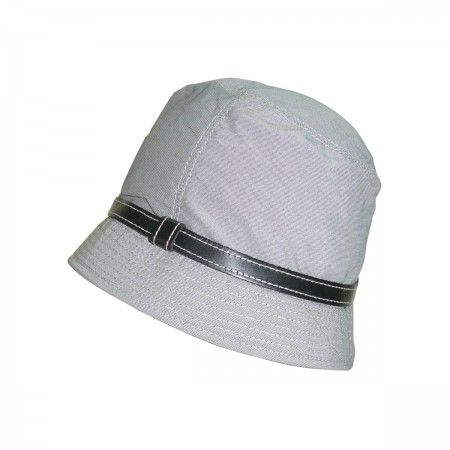 Cloche with leather band.