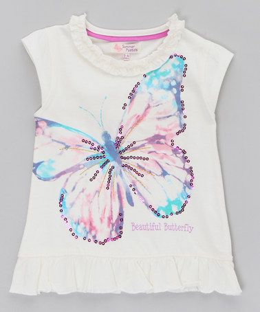 Take a look at this Cream Butterfly Tee by WW Group on #zulily today!