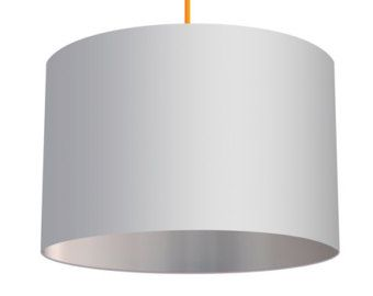 White Linen Drum Lampshade With Metallic Silver Effect Lining