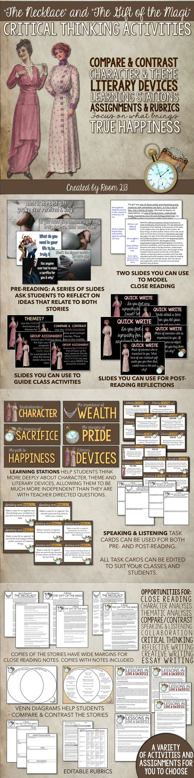 17 best images about holiday assignments for secondary ela on the gift of the magi and the necklace activities for critical thinking